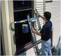 A ladder stabilizer can be used to brace an extension ladder at the top.