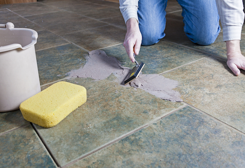 Re-grouting tile is easier with the proper grout and tools.